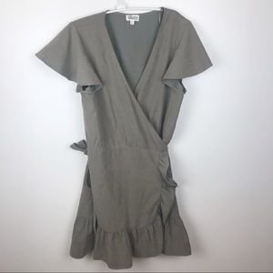 Glam Boutique Wrap Gray Ruffled Dress Size M